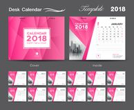 Set Desk Calendar 2018 template design, Pink cover, Set of 12 Months. Week start Sunday Stock Images