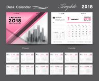 Set Desk Calendar 2018 template design, Pink cover, Set of 12 Months. Week start Sunday stock illustration