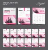 Set Desk Calendar 2018 template design, Pink cover, Set of 12 Months Stock Photo