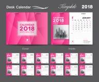 Set Desk Calendar 2018 template design, Pink cover, Set of 12 Months. Week start Sunday Stock Images