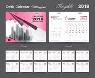 Set Desk Calendar 2018 template design, Pink cover, Set of 12 Months. Week start Sunday Royalty Free Stock Image