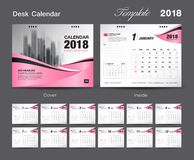 Set Desk Calendar 2018 template design, Pink cover, Set of 12 Months. Week start Sunday Royalty Free Stock Photos