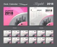 Set Desk Calendar 2018 template design, Pink cover, Set of 12 Months. Week start Sunday Stock Photos