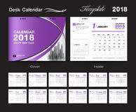 Set Desk Calendar 2018 template design, Purple cover royalty free stock image