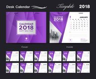 Set Desk Calendar 2018 template design, purple cover, Set of 12 Months. Week start Sunday, business brochure flyer, annual report, corporate layout, printing Stock Photo