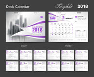 Set Desk Calendar 2018 template design, Purple cover Royalty Free Stock Images
