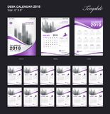 Set Desk Calendar 2018 template design, purple cover, Set of 12 Months. Week start Sunday, business brochure flyer, annual report, corporate layout, printing Royalty Free Illustration