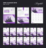 Set Desk Calendar 2018 template design, purple cover, Set of 12 Months. Week start Sunday, business brochure flyer, annual report, corporate layout, printing Royalty Free Stock Images