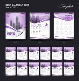Set Desk Calendar 2018 template design, purple cover, Set of 12 Months. Week start Sunday, business brochure flyer, annual report, corporate layout, printing Stock Illustration