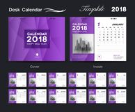 Set Desk Calendar 2018 template design, purple cover, Set of 12 Months, Week start Sunday. Business brochure flyer, annual report, corporate layout, printing Royalty Free Stock Photos