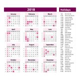 Vector of 2018 new year calendar and holidays. style purple color, Holiday event planner, Week Starts Sunday. Stock Photography
