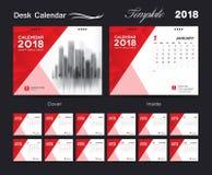 Set Desk Calendar 2018 template design, red cover. Set of 12 Months, Week start Sunday Stock Images