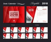Set Desk Calendar 2018 template design, red cover, Set of 12 Months. Week start Sunday Stock Photography