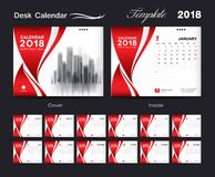 Set Desk Calendar 2018 template design, red cover. Set of 12 Months, Week start Sunday Stock Image