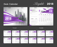 Set Desk Calendar 2018 template design, Red cover. Set Desk Calendar 2018 template design, purple cover, Set of 12 Months, Week start Sunday, business flyer Stock Photography