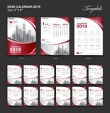 Set Desk Calendar 2018 template design, red cover. Set of 12 Months, Week start Sunday Stock Photography