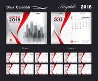 Set Desk Calendar 2018 template design, red cover. Set of 12 Months, Week start Sunday Royalty Free Stock Photography
