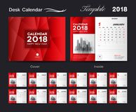 Desk Calendar 2018 template layout design, red cover. Set Desk Calendar 2018 template design, red cover, Set of 12 Months, Week start Sunday Royalty Free Stock Image