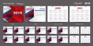 Set Desk Calendar 2019 template design vector, Calendar 2020,2021, 2022, 2023, cover design, Set of 12 Months, Week starts Sunday stock illustration