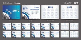 Set Desk Calendar 2019 template design vector, Calendar 2020,2021, 2022, 2023, cover design, Set of 12 Months, Week starts Sunday, vector illustration