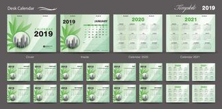 Set Desk Calendar 2019 template design vector, Calendar 2020, 20. 21, 2022, 2023, cover design, Set of 12 Months, Week starts Sunday, Stationery design, flyer stock illustration