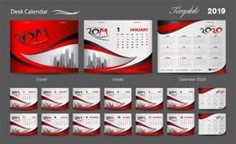 Set Desk Calendar 2019 template design vector, cover design, Set of 12 Months, Week starts Sunday, Stationery design, flyer layout. Printing media, red vector illustration