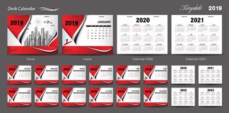 Set Desk Calendar 2019 template design vector, Calendar 2020, 2021, 2022, 2023, cover design, Set of 12 Months, Week starts Sunday. Stationery design, flyer royalty free illustration