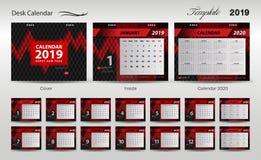Set Desk Calendar 2019 template design vector, cover design, Set of 12 Months, Week starts Sunday, Stationery design, flyer layout. Printing media, red stock illustration