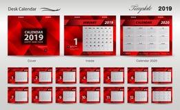 Set Desk Calendar 2019 template design vector, cover design, Set of 12 Months, Week starts Sunday, Stationery design, flyer layout. Printing media, red royalty free illustration
