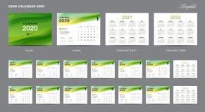 Set Desk Calendar 2020 template design vector, Calendar 2020, 2021, 2022, cover design, Set of 12 Months, Week starts Sunday stock illustration