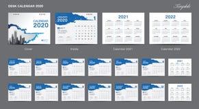Set Desk Calendar 2020 template design vector, Calendar 2020, 2021, 2022,  cover design, Set of 12 Months, Week starts Sunday royalty free illustration