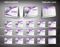 Set Desk Calendar 2019 template design vector and desk calendar 3d mockup, cover design, Set of 12 Months, Week starts Sunday royalty free illustration