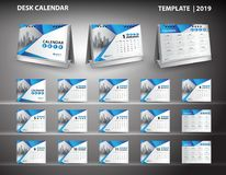Set Desk Calendar 2019 template design vector and desk calendar. 3d mockup, cover design, Set of 12 Months, Week starts Sunday, Stationery design, flyer layout Stock Images