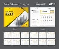 Set Desk Calendar 2018 template design, Yellow cover. Set of 12 Months, Week start Sunday Royalty Free Stock Photos