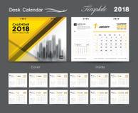 Set Desk Calendar 2018 template design, Yellow cover. Set of 12 Months, Week start Sunday Royalty Free Stock Image