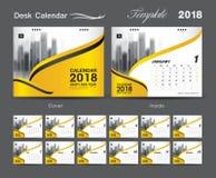 Set Desk Calendar 2018 template design, Yellow cover. Set of 12 Months, Week start Sunday Stock Image