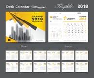 Set Desk Calendar 2018 template design, Yellow cover. Set of 12 Months, Week start Sunday Royalty Free Stock Photo