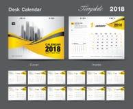 Set Desk Calendar 2018 template design, Yellow cover. Set of 12 Months, Week start Sunday Stock Photo