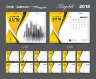 Set Desk Calendar 2018 template design, Yellow cover. Set of 12 Months, Week start Sunday Stock Images