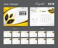 Set Desk Calendar 2018 template design, Yellow cover. Set of 12 Months, Week start Sunday Royalty Free Stock Photography