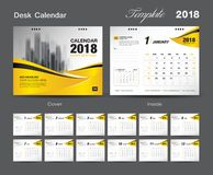 Set Desk Calendar 2018 template design, Yellow cover. Set of 12 Months, Week start Sunday Royalty Free Stock Images