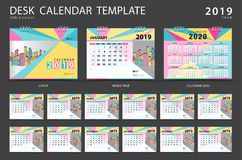 Set Desk calendar 2019 template. Set of 12 Months. Planner. Week starts on Sunday. Stationery design. advertisement. Vector layout. blue cover. business vector illustration