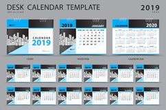 Set Desk calendar 2019 template. Set of 12 Months. Planner. Week starts on Sunday. Stationery design. advertisement. Vector. Layout. blue cover. business vector illustration