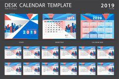 Set Desk calendar 2019 template. Set of 12 Months. Planner. Week starts on Sunday. Stationery design. advertisement. Vector layout. blue cover. business stock illustration