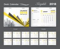 Set Desk Calendar 2018 template design, Yellow cover. Set Desk Calendar Yellow template design, Orange cover, Set of 12 Months, Week start Sunday Stock Image