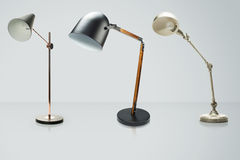 Set of  desk lamps isolated on white, with clipping path Royalty Free Stock Photos