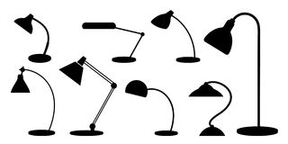 Set of desk lamps. Silhouettes. Monochrome. royalty free illustration