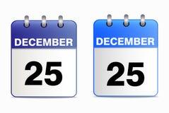 Set of desktop calendars. A set of desktop calendars blue in two ways. Date 25 Dec. Vector  illustration of Christmas icons. Horizontal location Royalty Free Stock Photos
