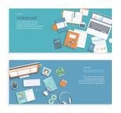 Set of desktop workplace banners backgrounds. Documents, graphics, folders. Workspace analytics, optimization, management. Vector Stock Images