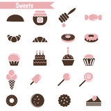 Set of dessert icons. Stock Photography